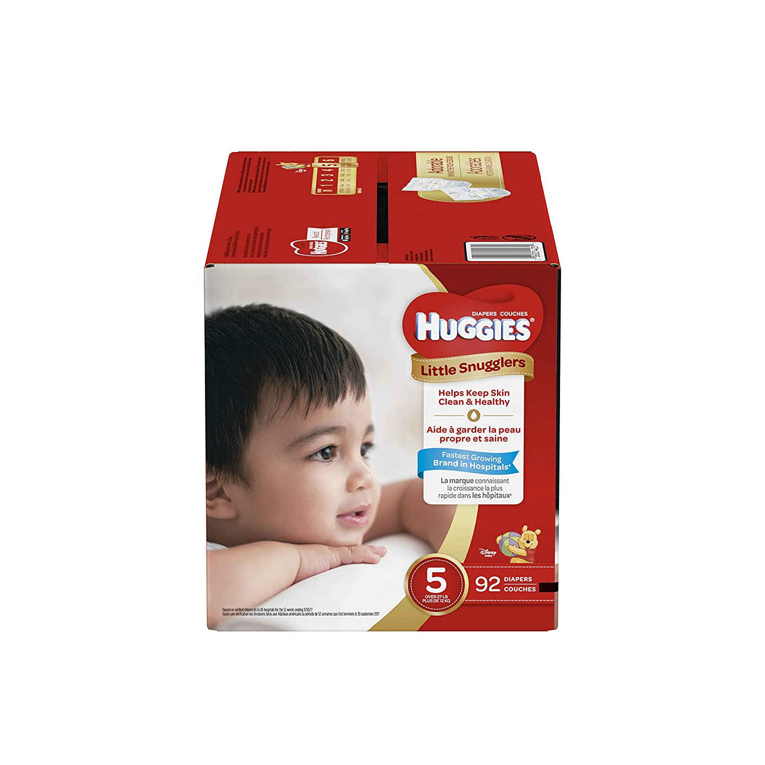 HUGGIES LITTLE SNUGGLERS, Baby Diapers, Size 5, 124ct Kimberly Clark No  Model