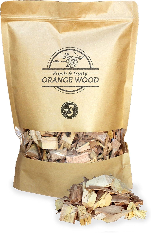 Smokey Olive Wood 1'7 litros, virutas de Madera de Naranjo para Barbacoa y ahumar, Talla 2-3cm