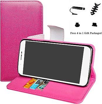 LFDZ Archos 55 Helium Funda, PU Cuero Tipo Flip Case Wallet Cover Caso Funda para Archos 55 Helium / 55 Helium Ultra Smartphone(con 4 en 1 Regalo empaquetado),Magenta: Amazon.es: Electrónica