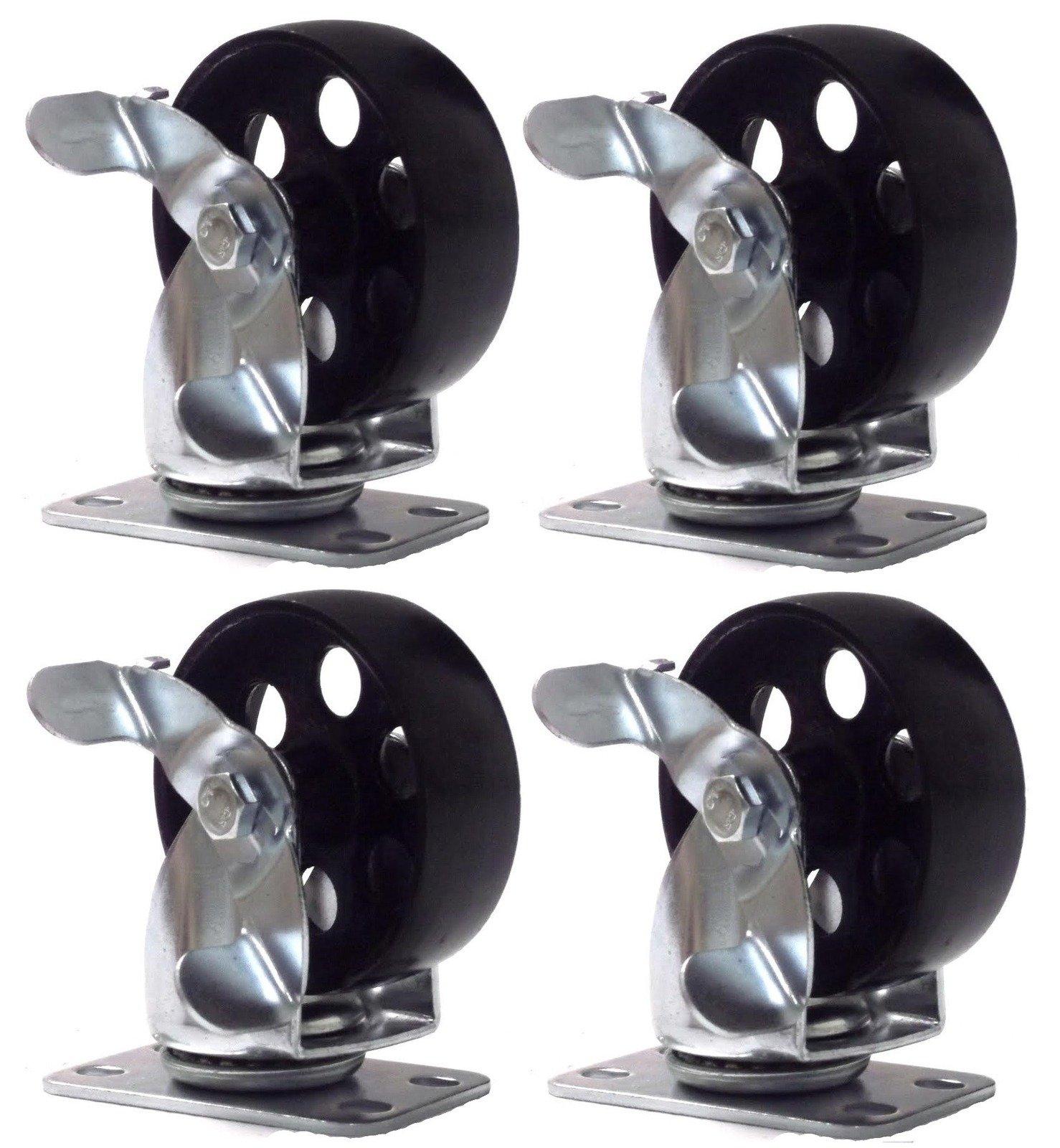 Online Best Service 4 Large All Steel Swivel Plate Caster W Brake Lock Heavy Duty 3.5'' Wheel by Online Best Service