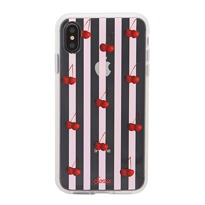 differently 359d8 c6ac5 iPhone Xs Max Case, Sonix Cherry Stripe Cell Phone Case [Military Drop Test  Certified] Women's Protective Clear Series for Apple iPhone Xs Max
