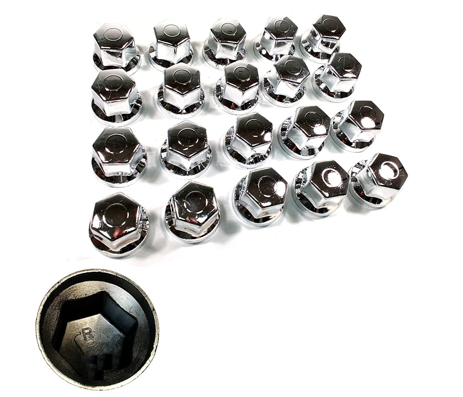 60 PCS X 32 MM WHEEL NUT COVER CAPS CHROME FIT FOR TRUCKS TRAILERS flexzone