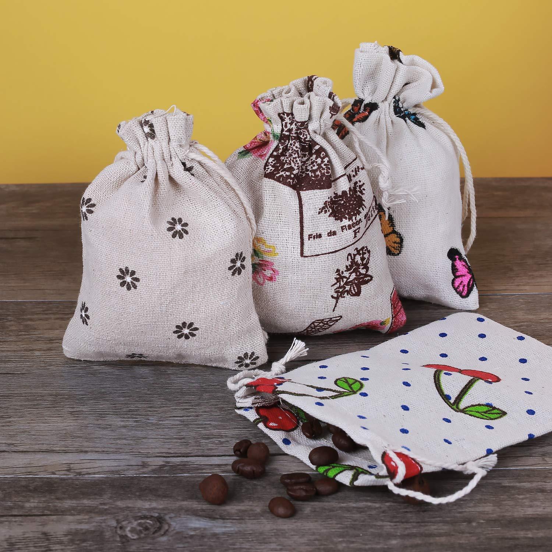 Hongyantech 20 Sac en Coton Sac en Toile de Jute Naturel Sac Sac en Toile Sac en Tissu Bijoux Sacs Cadeaux