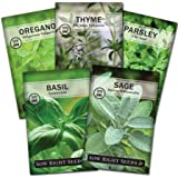Sow Right Seeds - Italian Herb Garden Seed Collection - Individual Packets of Basil, Oregano, Parsley, Sage, and Thyme…