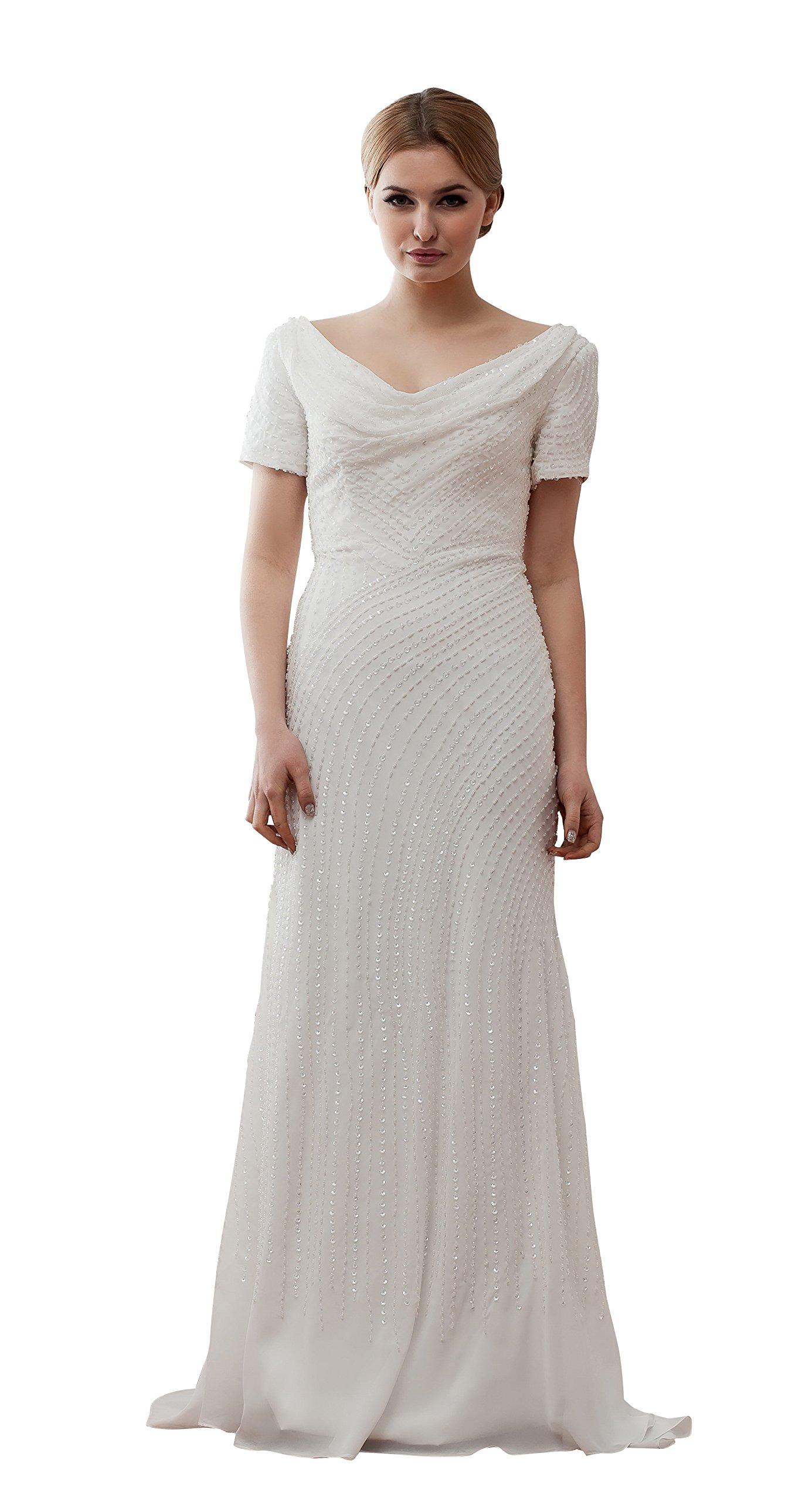 Vogue007 Womens Short Sleeve V Neck Sewing Bead Pongee Tulle Satin Wedding Dress, White, 16W