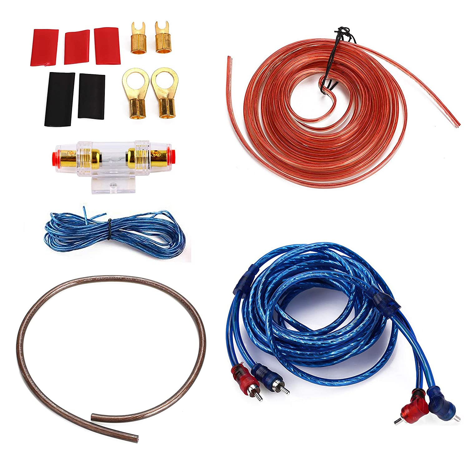 1500W 8GA Car Audio Subwoofer Amplifier Installation Kit for Amp Install Wiring Complete RCA Cable ShongooJoy