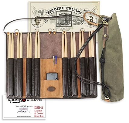 Amazon.com  Walker   Williams DSB-2 Leather Drum Stick Bag with Heavy Canvas  Carrying Bag  Musical Instruments 40893463959f3