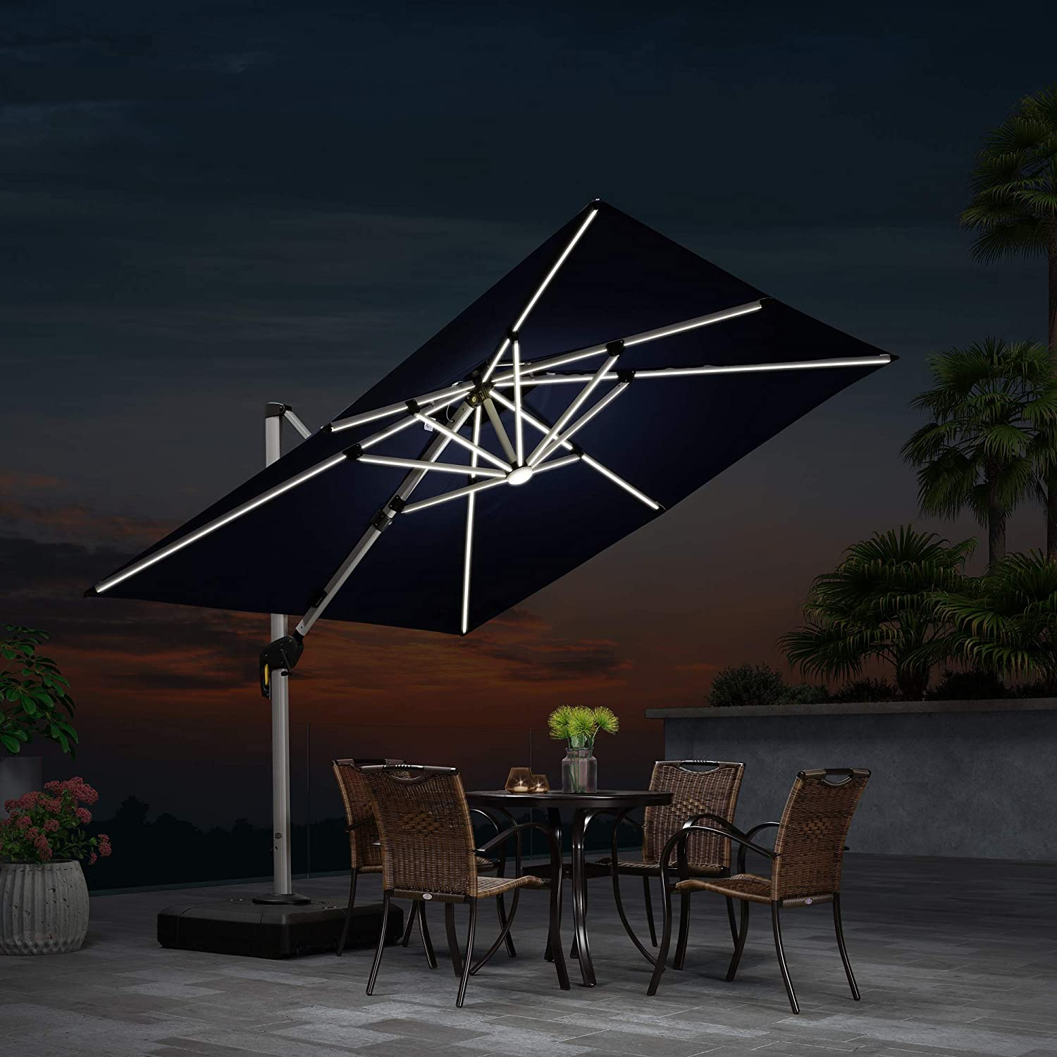 PURPLE LEAF 9 Feet Double Top Deluxe Solar Powered LED Square Patio Umbrella Offset Hanging Umbrella Outdoor Market Umbrella Garden Umbrella, Navy Blue