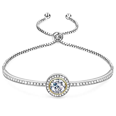 GEORGE SMITH Birthday GiftsEndless SaturnClassic Design Adjustable Women Bangle Bracelet Crystals From Swarovski Jewelry For Girlfriend Wife Mom A