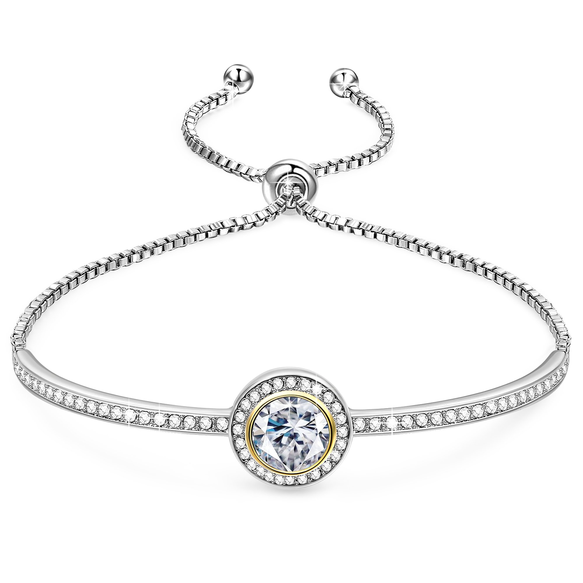 "GEORGE · SMITH Birthday Gifts""Endless Saturn""Classic Design Adjustable Women Bangle Bracelet Crystals from Swarovski Jewelry for Women -a Luxury Gift Box Included"