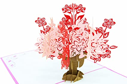 Amazon poplife flower bouquet vase pop up card 3d card for poplife flower bouquet vase pop up card 3d card for all occasions valentines mightylinksfo