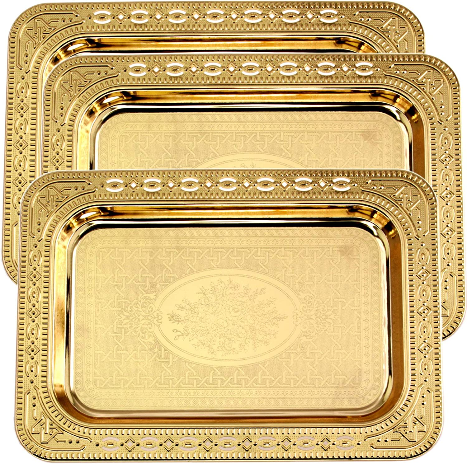 Maro Megastore (Pack of 3) 11.6 Inch x 8.3 Inch Oblong Iron Gold Plated Serving Tray Leaf Floral Edge Decorative Party Birthday Wedding Dessert Buffet Wine Candle Decor Platter Plate Base Dish CC-968