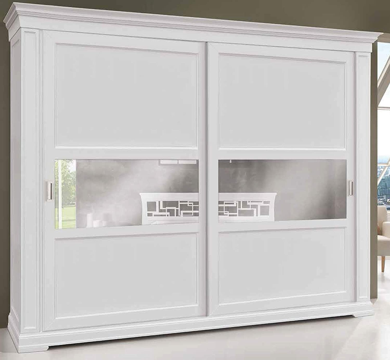 Armario de 2 puertas correderas, madera lacada en blanco, estilo clásico (cm. L.290 H.250 P.67) (TVG)