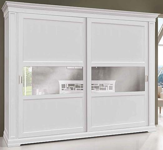 Armario de 2 puertas correderas, madera lacada en blanco, estilo ...
