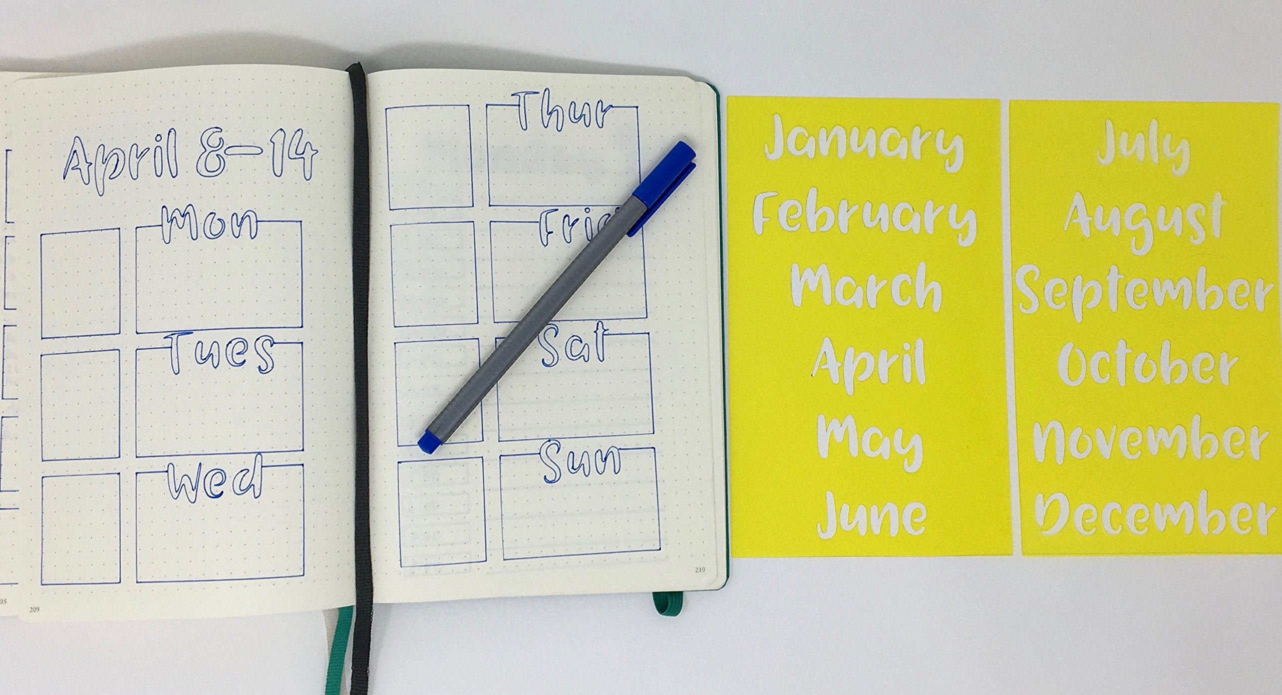 2 Bullet Journal Stencils - Days of the Month. Handwriting.