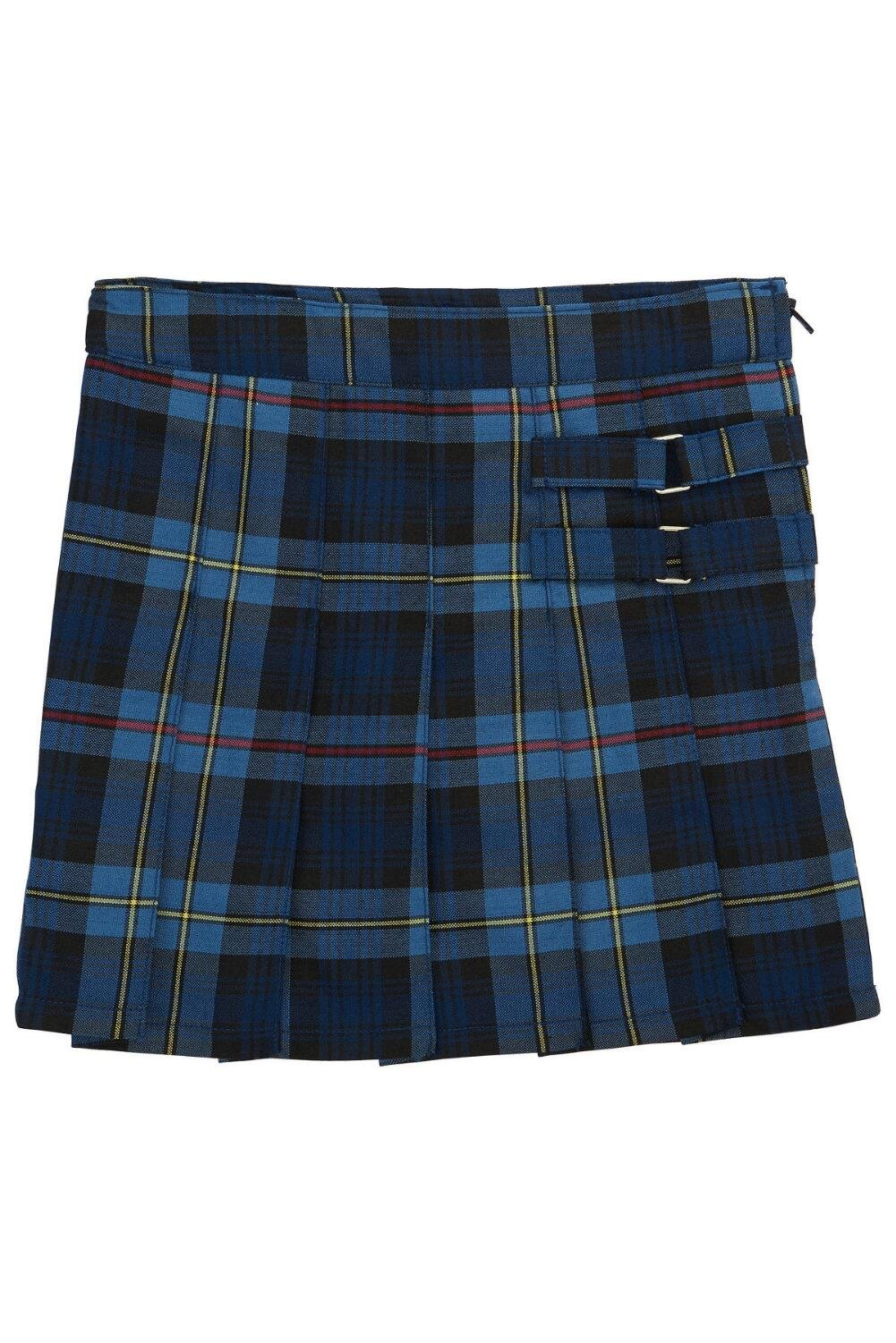 French Toast Little Girls' Plaid Pleated Scooter, Navy Red Plaid, 6