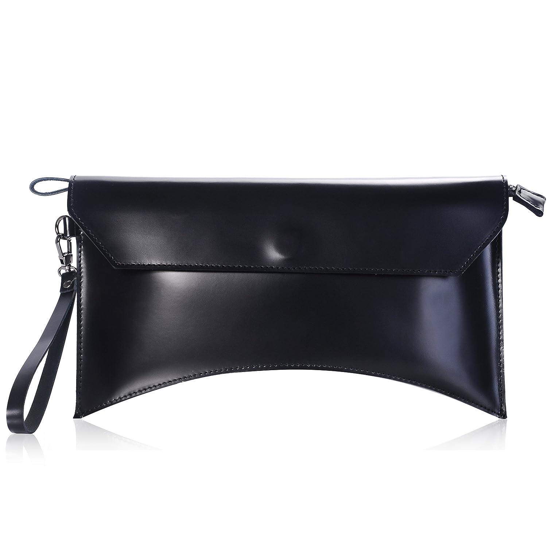 iYaffa Women Clutch Handbag Genuine Leather Glazed Large Wristlet Purse Bags with Strap