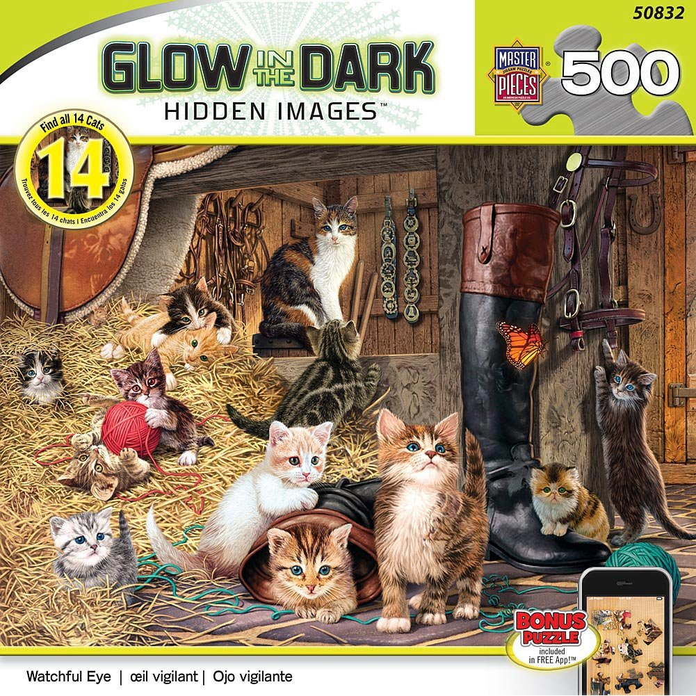 Amazon.com: MasterPieces Glow-In-The-Dark Hidden Image Sea Serenity Jigsaw Puzzle, 550-Piece: Toys & Games