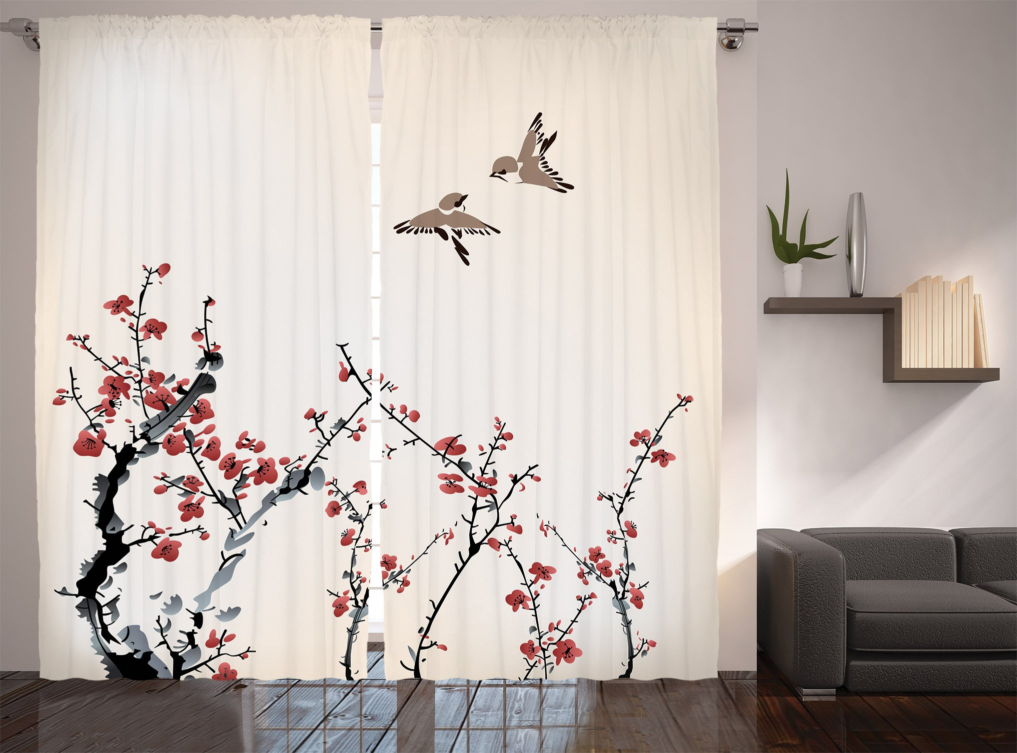 Ambesonne Watercolor Flowers Decor Collection, Spring Cherry Branches Blooms and Birds in Classic Design, Window Treatments, Living Room Bedroom Curtain 2 Panels Set, 108 X 84 Inches, Paprika Ivory by Ambesonne