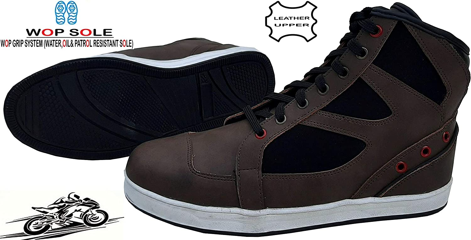 10 UK Brown Speed MaxX Casual Sneaker Pure Leather Motorbike Motorcycle Shoes Boots