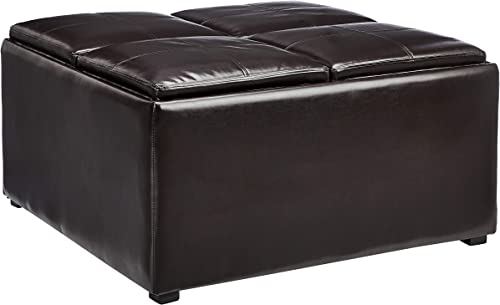 Red Hook Lyndale Square Coffee Table Storage Ottoman with 4 Flip-Over Trays, Vanilla Bean Brown