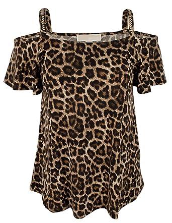 35cfa99fd1d8 Michael Michael Kors Women s Plus Size Embellished Cold-Shoulder Printed  Top-C-0X Caramel at Amazon Women s Clothing store