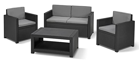 Allibert Lounge-Set Monaco 4tlg, graphit/cool grey: Amazon.de: Garten