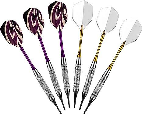 Pack de 6 qmq 17 gramos. Práctica Juego de dardos de punta blanda para Electronic dartboard-aluminum cañas: Amazon.es: Deportes y aire libre