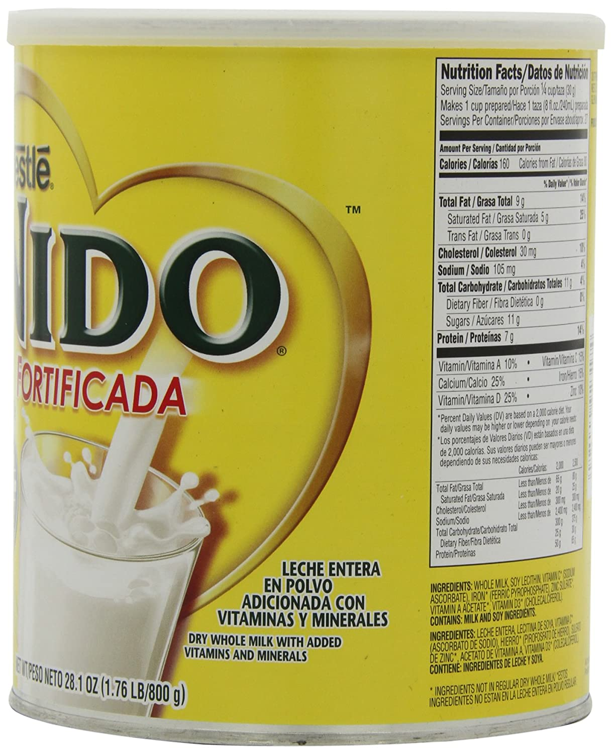 Nestle Nido Instant Dry Whole Milk Powder, Fortificada, 1.76-Pound Cans (Pack of 2)