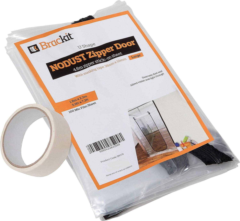 Brackit, Hoja de polvo de la puerta con cremallera en forma de U, 100 cm x 220 cm con cinta adhesiva 36 mm x 10 m