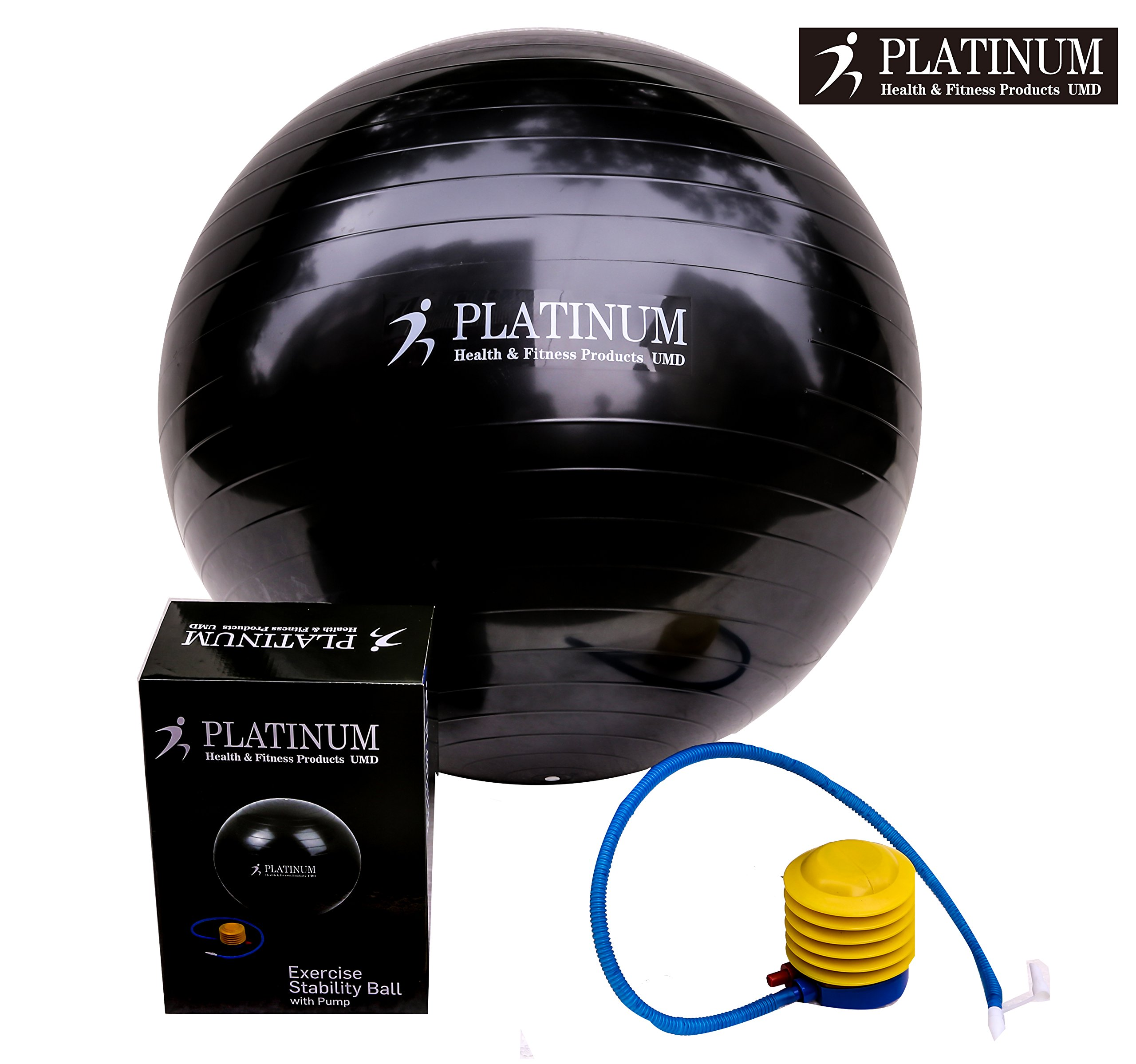 Platinum Health Unisex 2000lbs Static Strength Exercise/Yoga Fitness Stability Ball with Foot Pump (Black, 55 Centimeters)