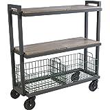 Atlantic System 3 Tier Cart-Wide Mobile Storage Interchange Shelves and Baskets, Powder-Coated Steel Frame PN23350330 in Kale