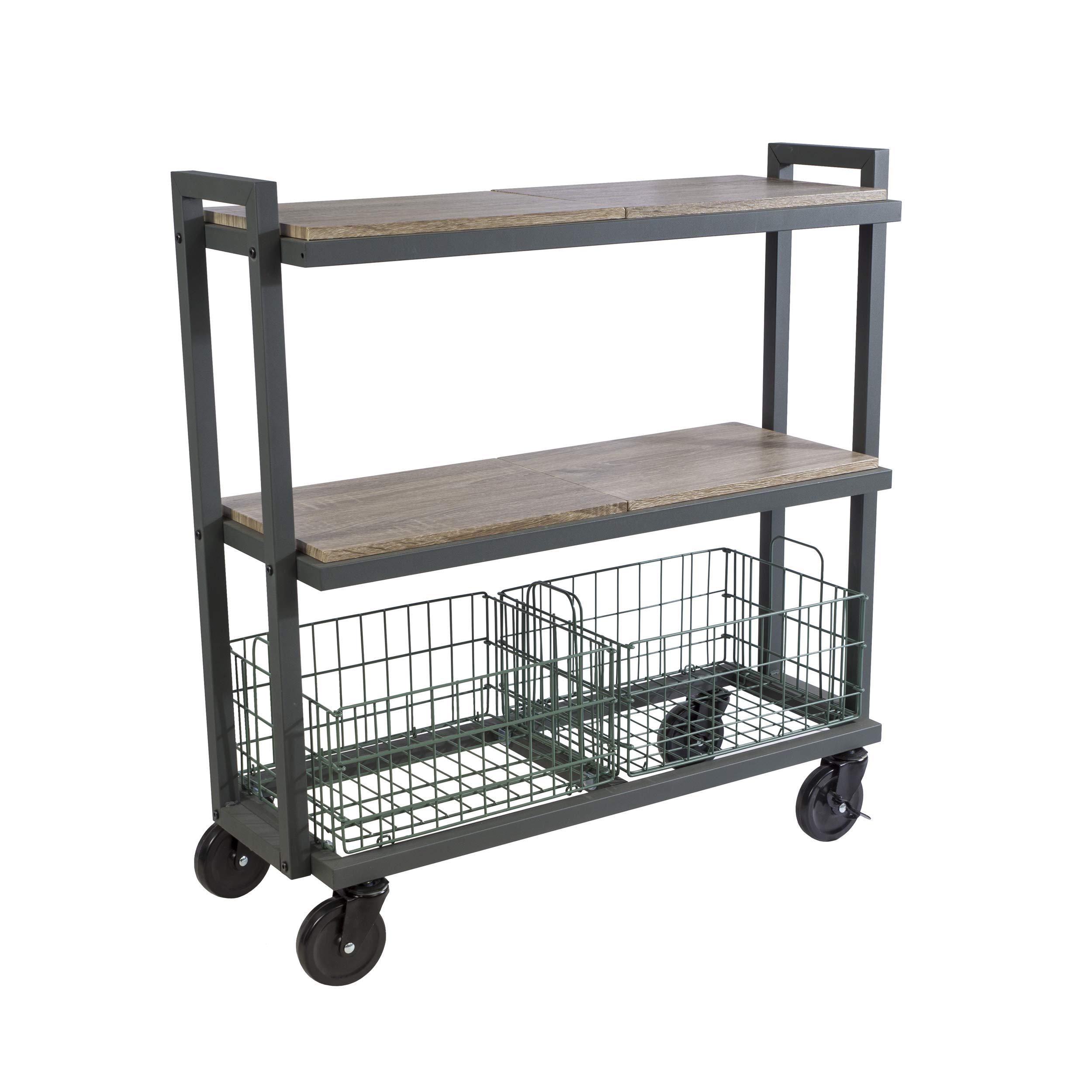 Atlantic System 3 Tier Cart-Wide Mobile Storage Interchange Shelves and Baskets, Powder-Coated Steel Frame PN23350330 in Kale Green by Atlantic