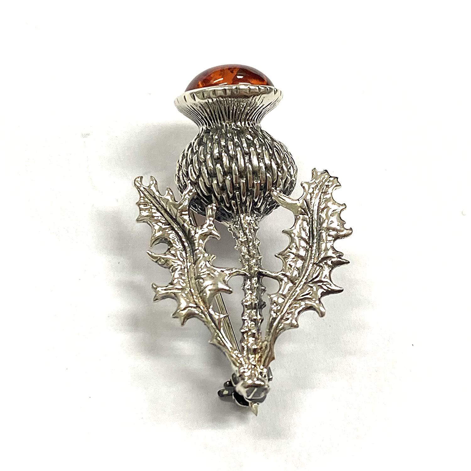 Art Nouveau Style Thistle Pin Brooch or Pendant with Amber Stone 925 Sterling Silver