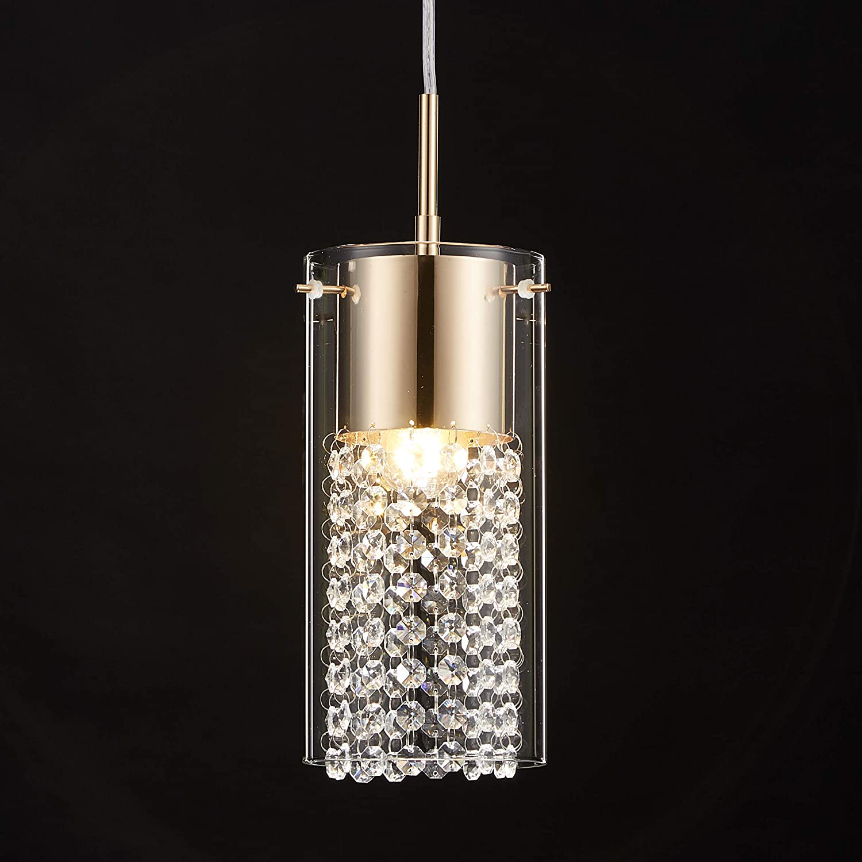 Tayanuc Golden Crystal Hanging Ceiling Pendant Light, Adjustable Kitchen Bedroom Restaurant Crystal Ceiling Lighting Fixture, Glass Crystal Ceiling Pendant Lighting Chandelier