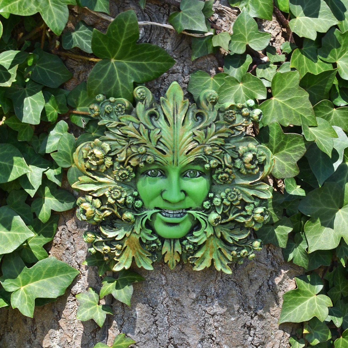 Green Mistress Green Woman, Greenman Decorative Garden Wall Plaque. 12cm Fiesta Studios