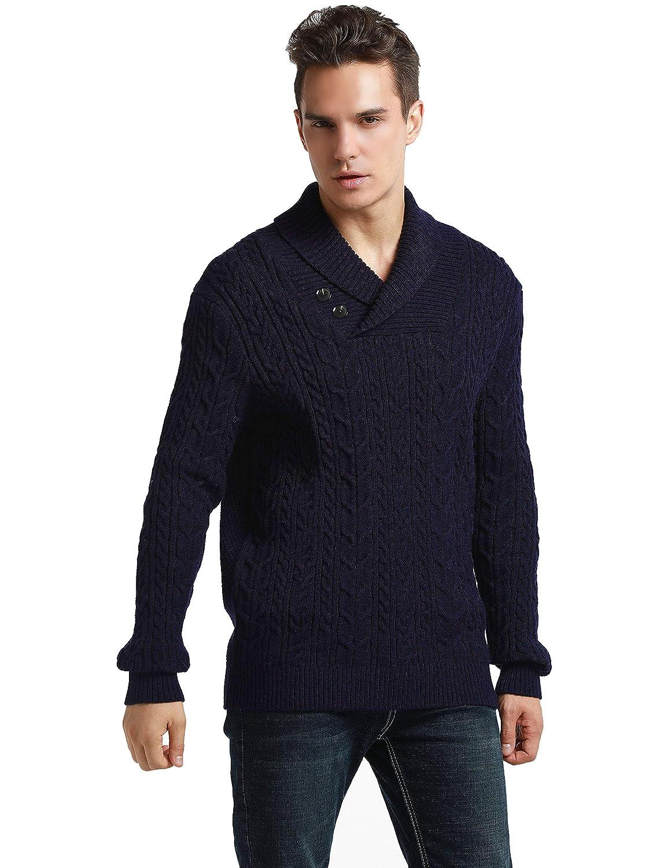PrettyGuide Men's Shawl Collar Sweater Button Cable Knit Pullover Sweater Tops