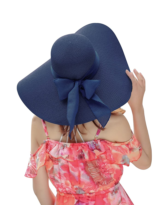Beach Floppy Hats for Womens Sun Foldable Woven Big Bowknot Summer Fashion Hats Refreshing UPF 50+