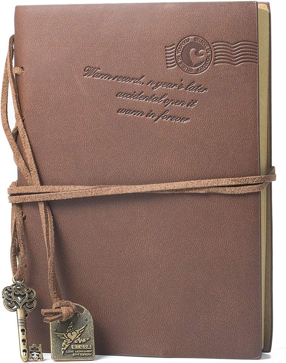 Wolintek Cuaderno de Cuero,Cuaderno de Notas Vintage Cuadernos Bonitos de Viaje con n Regalo Gratis