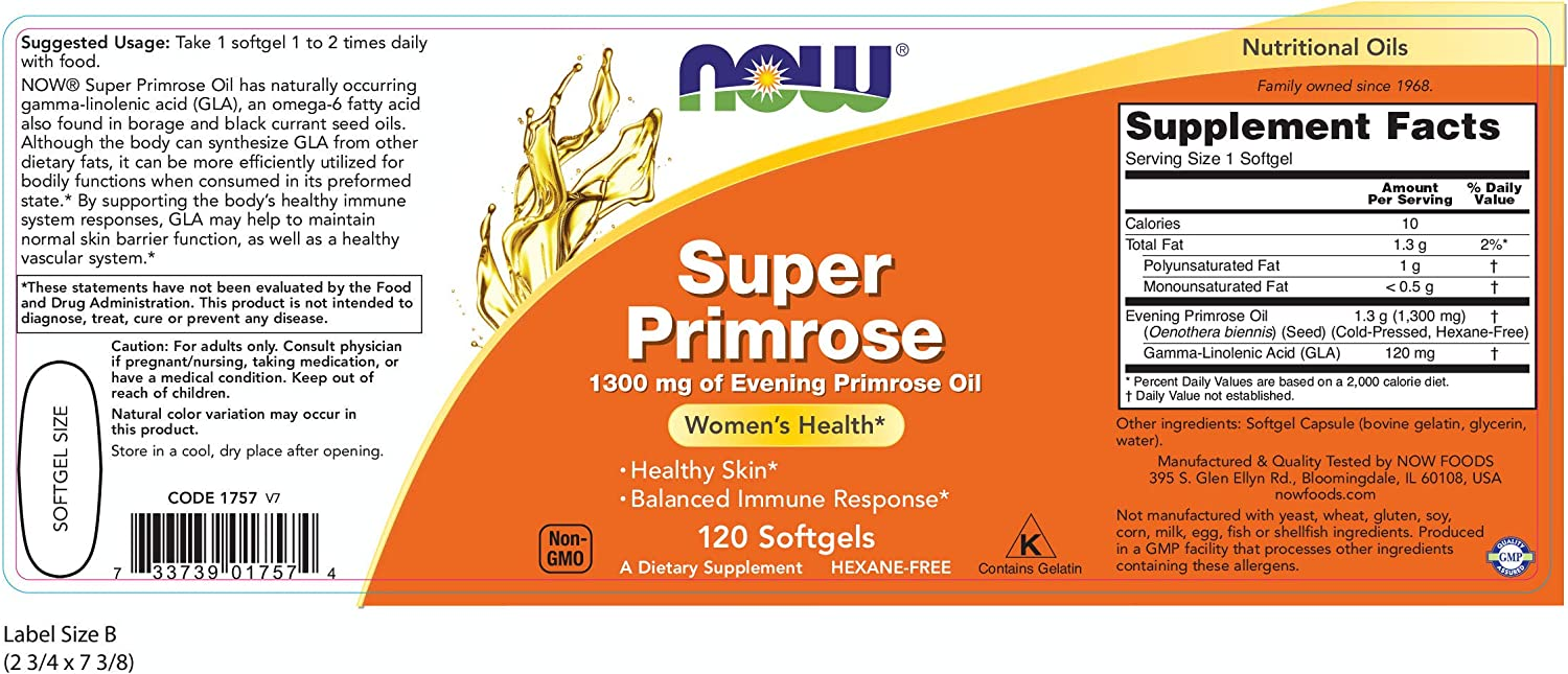 NOW Supplements, Super Primrose 1300 mg with Naturally Occurring GLA (Gamma-Linolenic Acid), 120 Softgels: Health & Personal Care