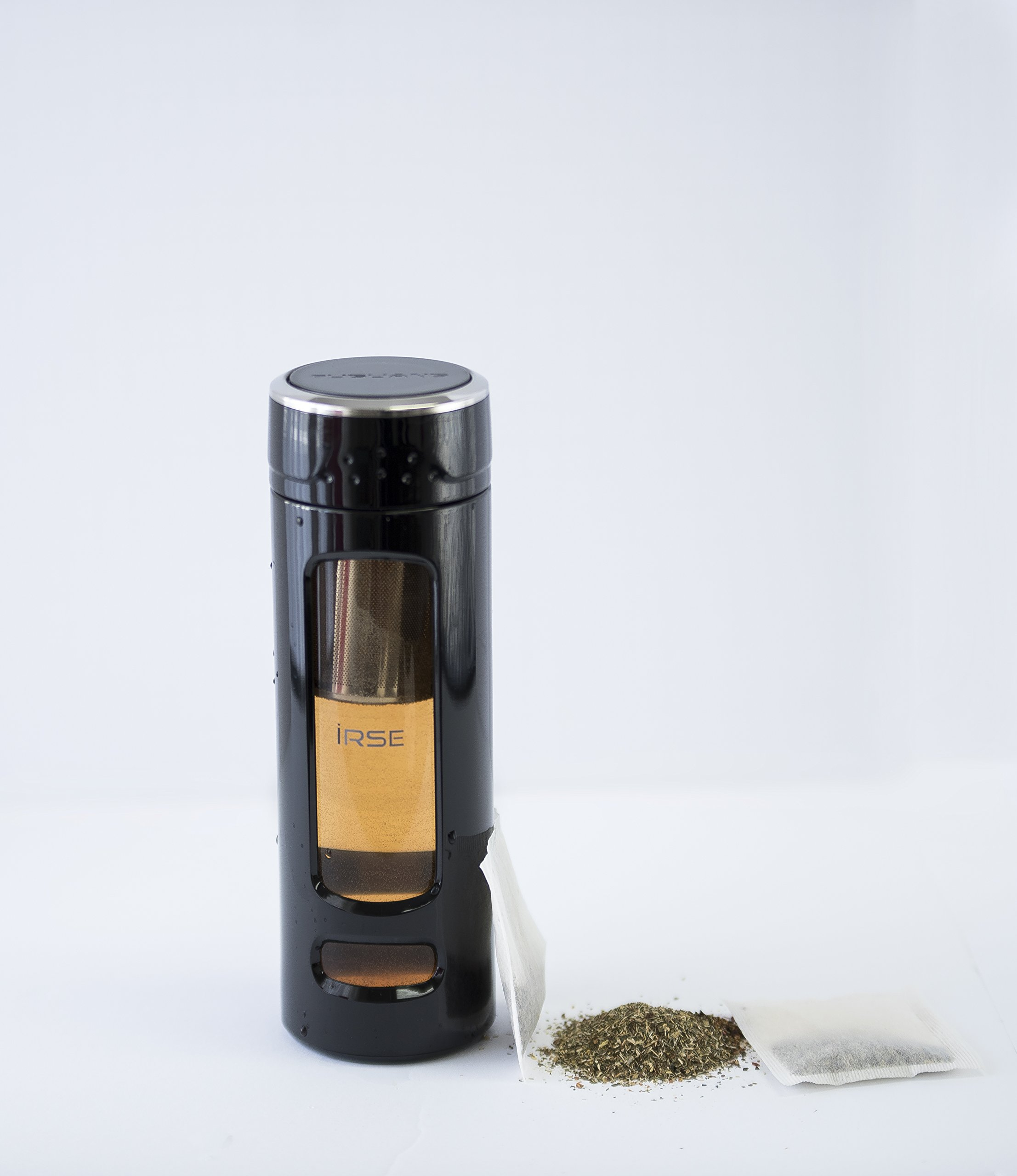 iRSE Tea Infuser Bottle tumbler glass with plastic housing and stainless steel strainer for loose leaf tea maker travel thermos teapot filter ice drink fruit water herbs spices detox 14 oz (Black)