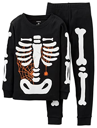 edfbb54bf6a5 Amazon.com  Carter s 2-Piece Halloween Skeleton Pajama Set Toddler ...