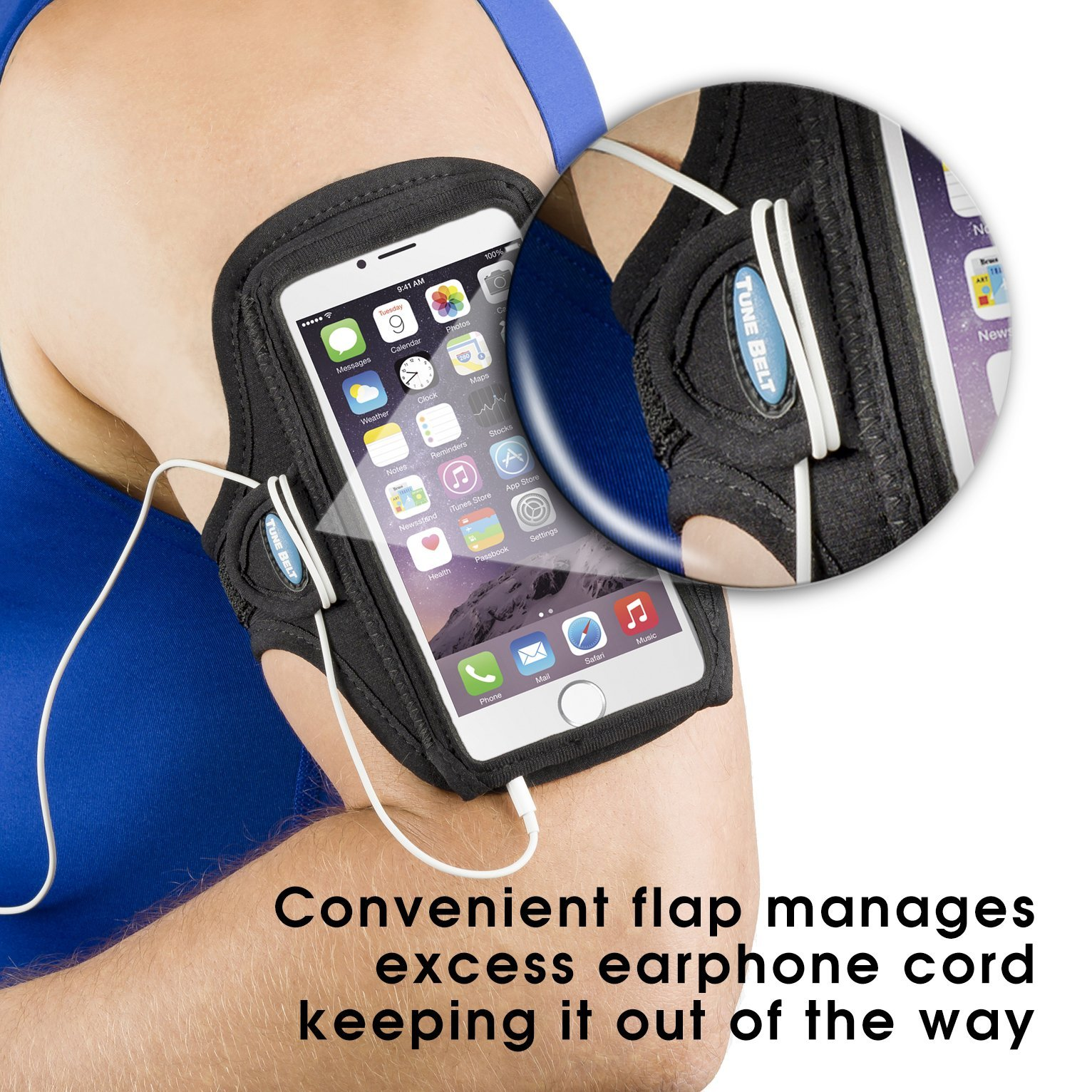 Armband for iPhone 6 6s 7 8 Plus, Samsung Galaxy Note 8 and S8 Plus - for Running, Jogging & Working Out - Water Resistant - for Women & Men [Black] See Fit Details by Tune Belt (Image #4)