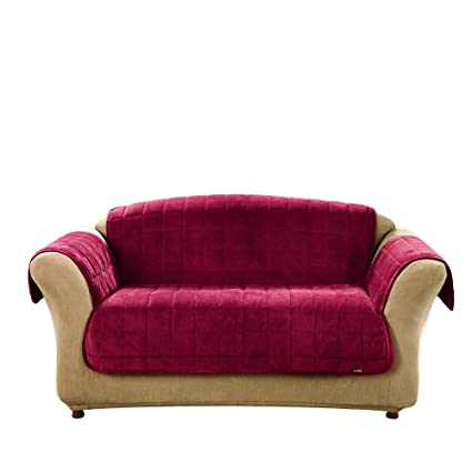 Sure Fit Deluxe Pet Cover   Loveseat Slipcover   Burgundy (SF39457)