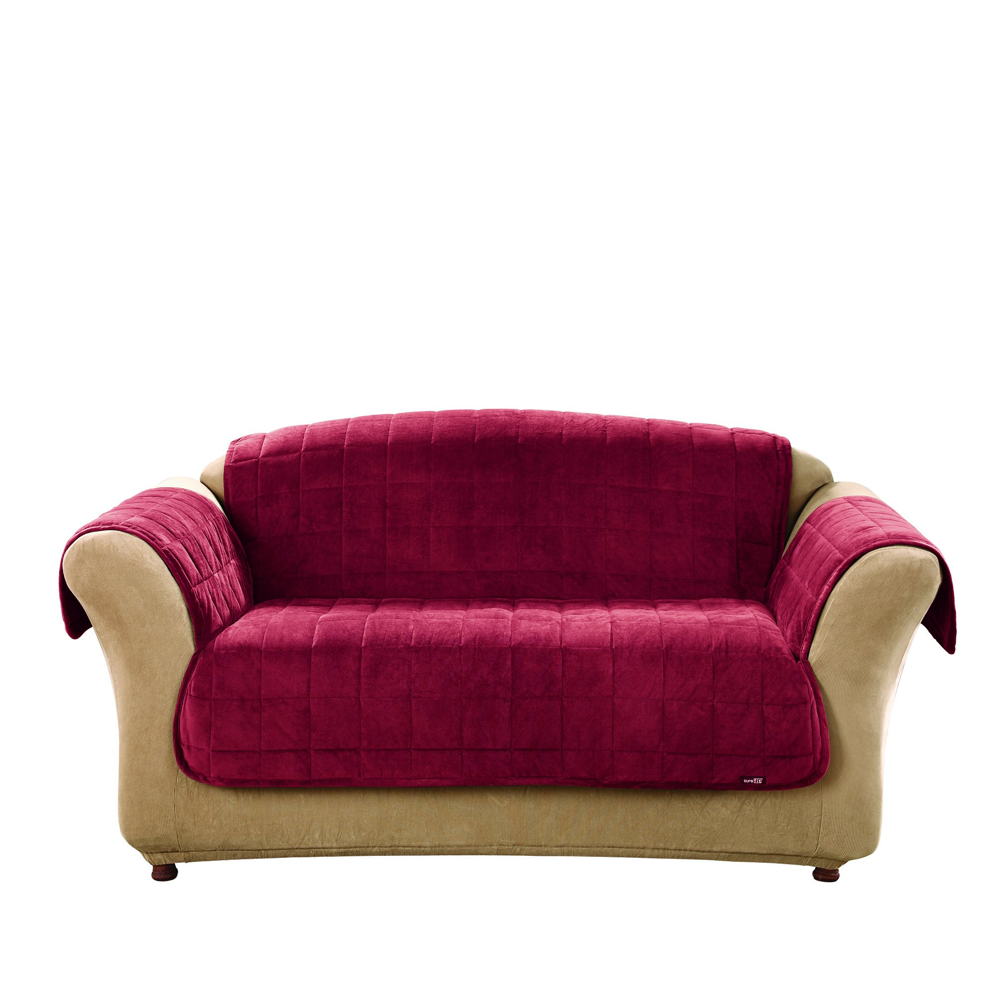 Sure Fit Deluxe Pet Cover  - Loveseat Slipcover  - Burgundy (SF39457)