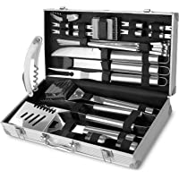 FIXKIT 26Pcs Kit Barbecue Portable, Kit Ustensiles Barbecue en Acier Inoxydable pour Grillade, Jardin Extérieur, Randonnée et Voyage