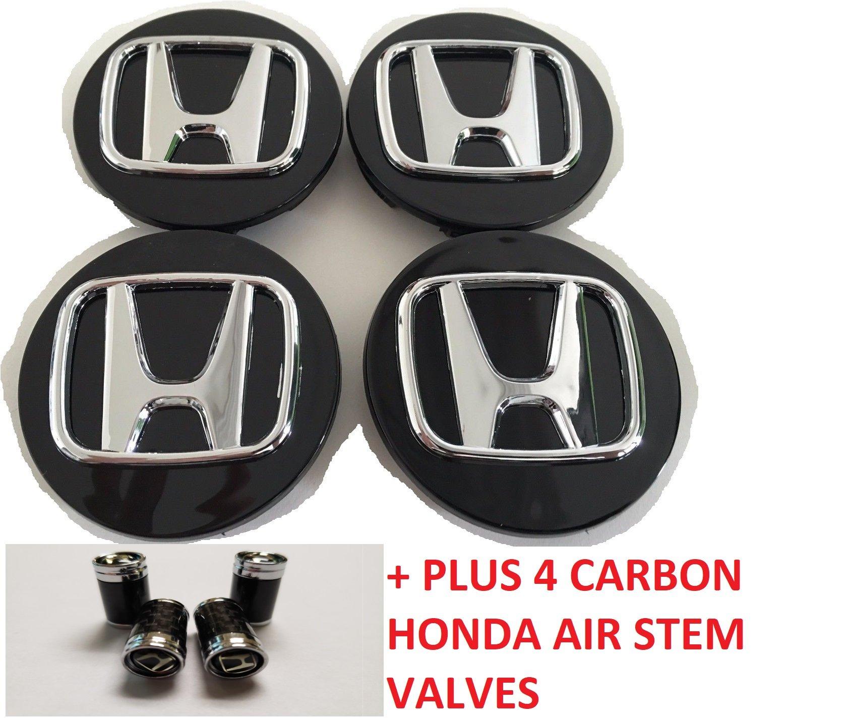 Honda Wheel Badge Center Caps Set of 4 69mm or 2.75 Black Accord Civic Pilot by RPOEnterprise (Image #1)