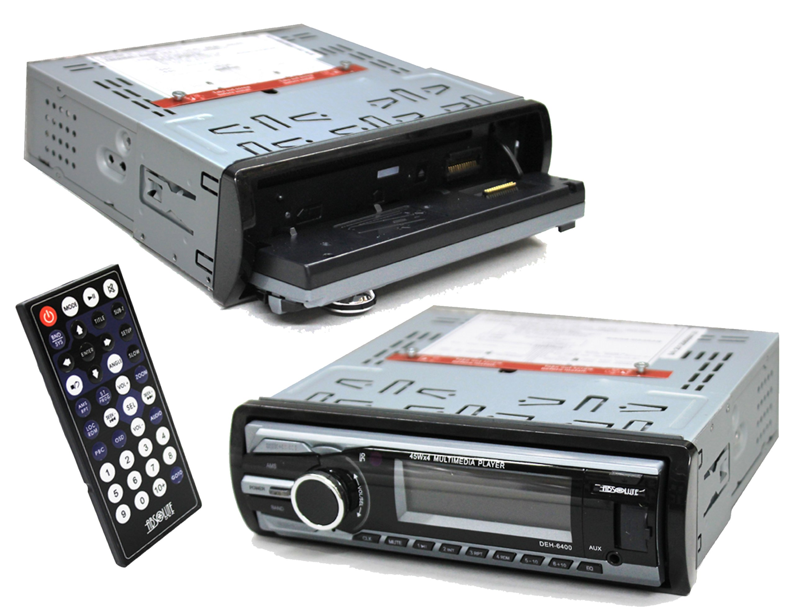 Absolute DEH-6400 In Dash Receiver with USB/SD Card Slot and Multimedia Player DVD/MP3/MP4/CD/CD-R/CD-RW/WMA