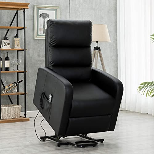 EDWELL Power Lift Recliner Chair for Elderly Single Living Room Sofa,Padded Seat Glider Chairs Home Theater Seating Black, PU