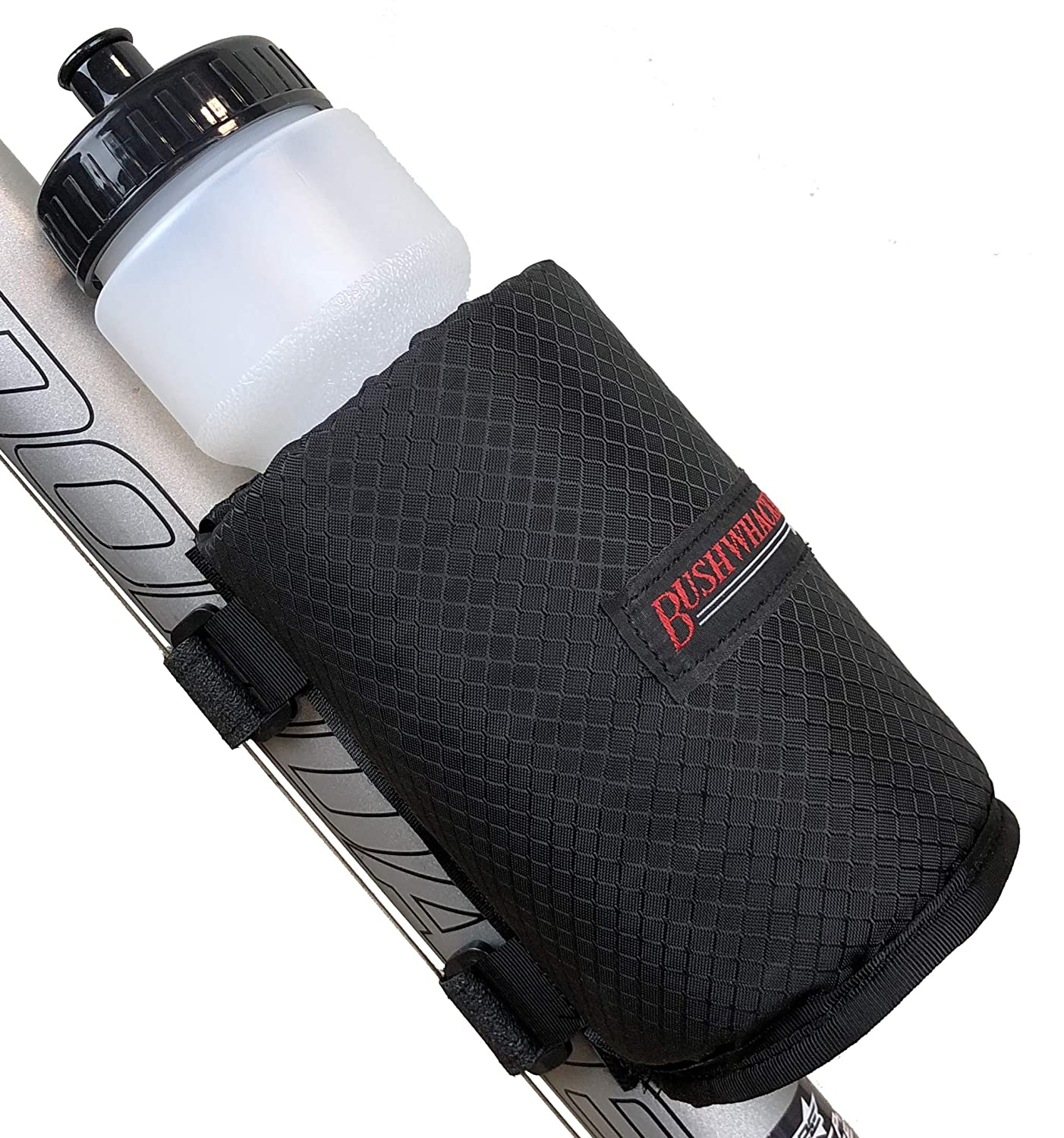 Bushwhacker Olympia Insulated Bicycle Water Bottle Holder w/ 28 Ounce Bottle - Mounts with Velcro Straps No Tools Hardware Screws Required - Attaches to Top Down Seat Tube - Bike Cage Cycling Mount